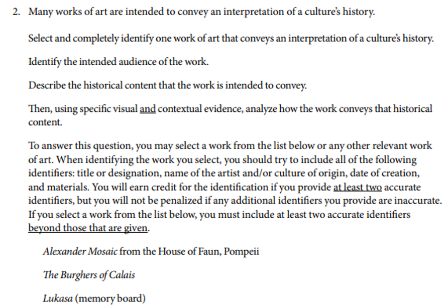 ap art history sample question